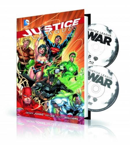 JUSTICE LEAGUE VOL 1 HC ORIGIN BOOK & DVD BLU RAY SET